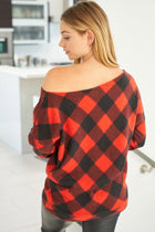 Sweet Fling Red Buffalo Plaid Off The Shoulder Top 2