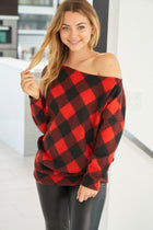 Sweet Fling Red Buffalo Plaid Off The Shoulder Top 1