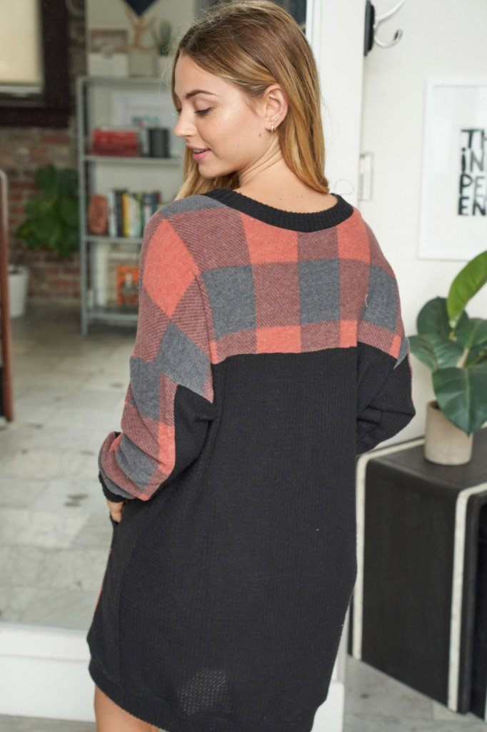 Sweet Little Thing Buffalo Plaid Waffle Knit Dress 2