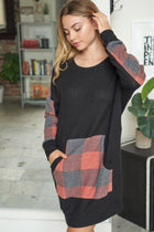 Sweet Little Thing Buffalo Plaid Waffle Knit Dress 4