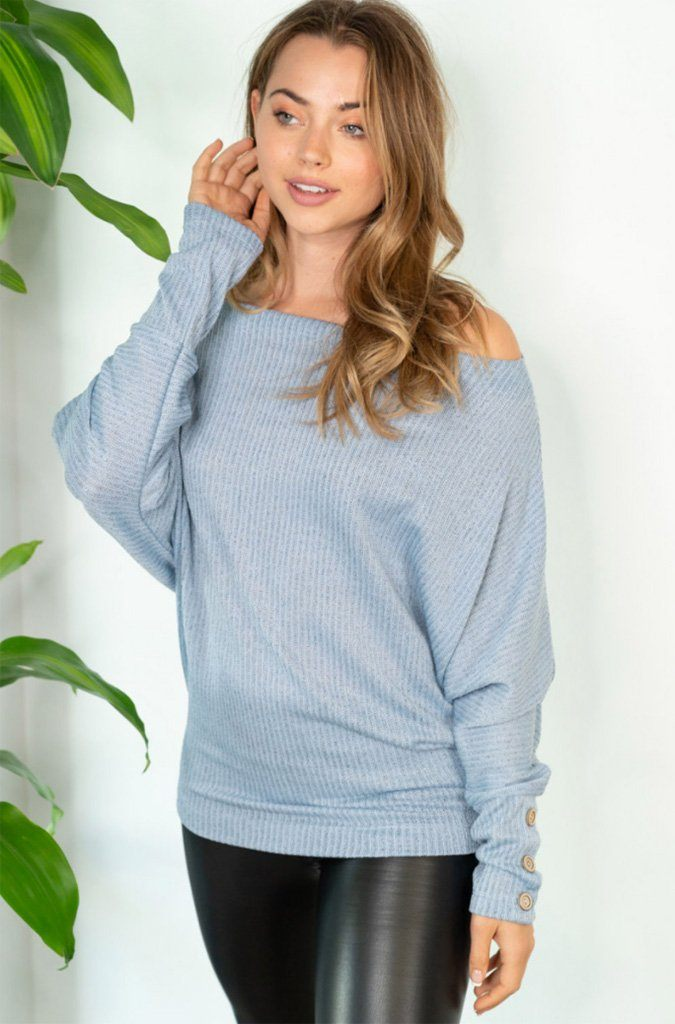 Sweet Spot Blue Off The Shoulder Top 3