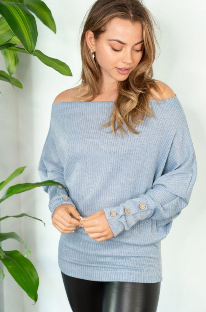 Sweet Spot Blue Off The Shoulder Top 4