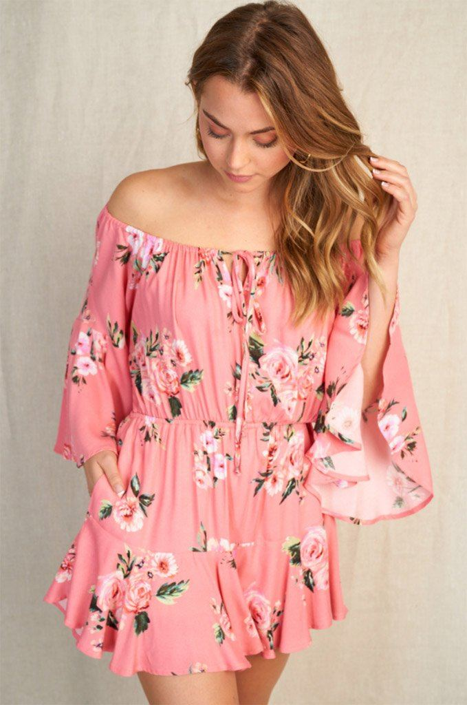 Sweet Style Coral Floral Off The Shoulder Romper 4