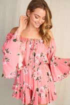 Sweet Style Coral Floral Off The Shoulder Romper 3