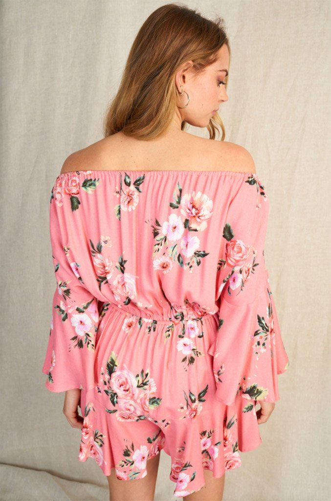 Sweet Style Coral Floral Off The Shoulder Romper 2