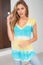Sweeter By The Hour Bright Blue Tie Dye Top 1