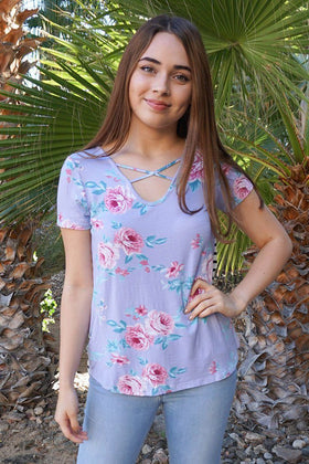 Sweetest Charm Lavender Floral Print And Stripes Crisscross Top 1