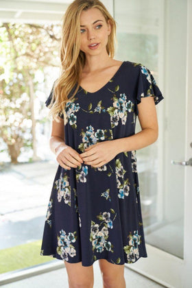 Sweetest Memory Navy Blue Floral Print Dress 1