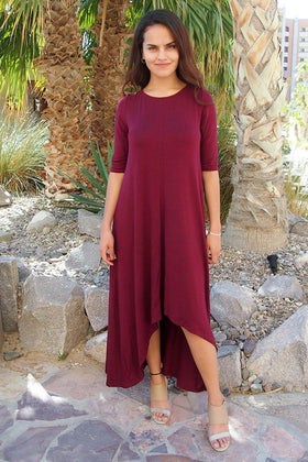 Swept Away Burgundy Red Hi-Low Maxi Dress 1