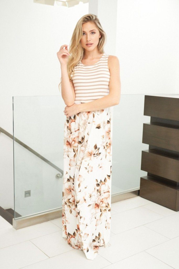 Take Your Time Beige Floral Print Maxi Dress 3