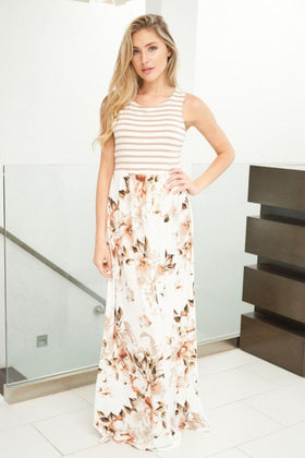 Take Your Time Beige Floral Print Maxi Dress 1