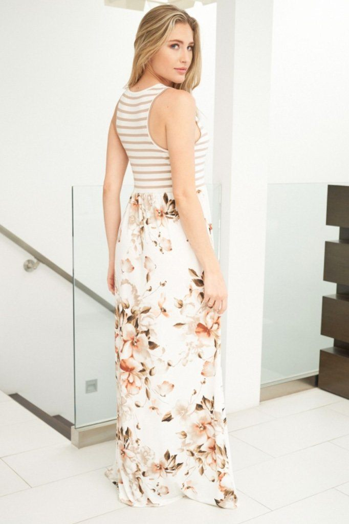Take Your Time Beige Floral Print Maxi Dress 2