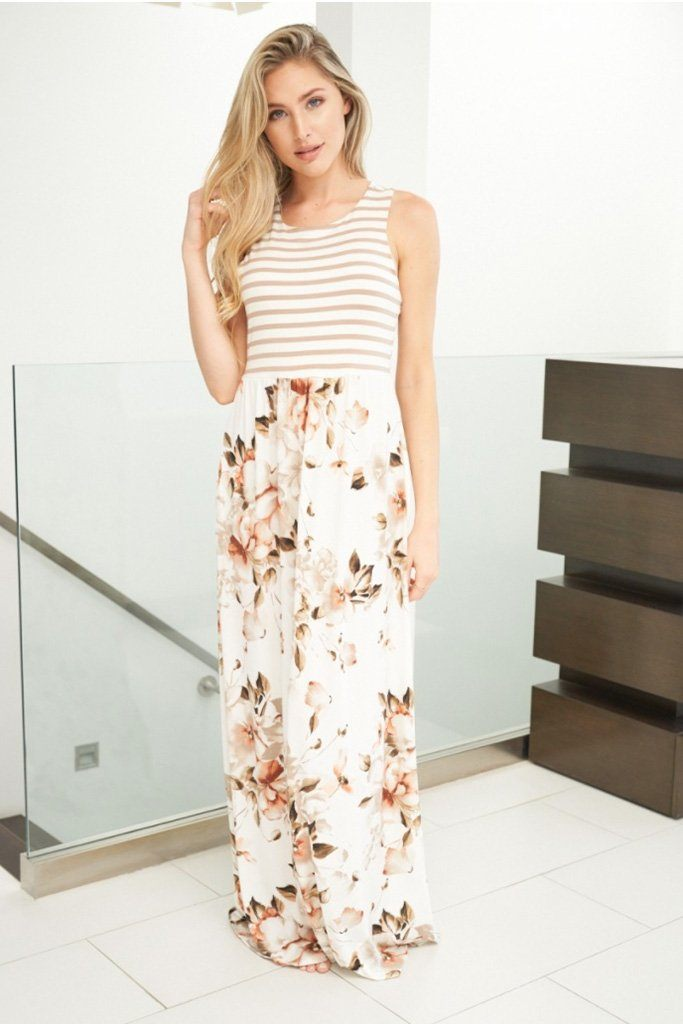Take Your Time Beige Floral Print Maxi Dress 4