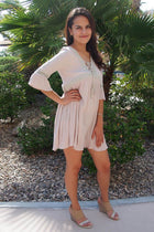 Taking You Uptown Cream Short Dress With Crisscross Top 4
