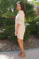 Taking You Uptown Cream Short Dress With Crisscross Top 2