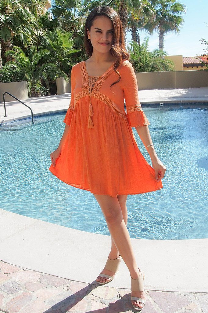 Taking You Uptown Pumpkin Orange Lace Up Swing Dress 4