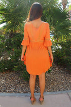 Taking You Uptown Pumpkin Orange Lace Up Swing Dress 3