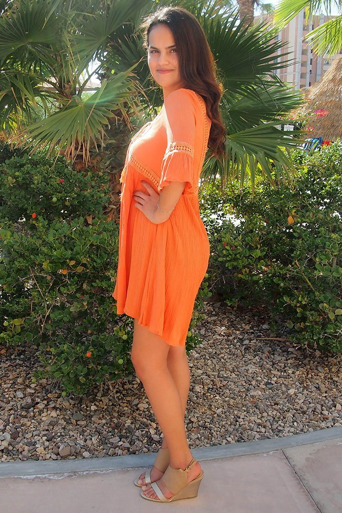 Taking You Uptown Pumpkin Orange Lace Up Swing Dress 2