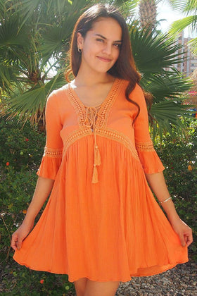 Taking You Uptown Pumpkin Orange Lace Up Swing Dress 1