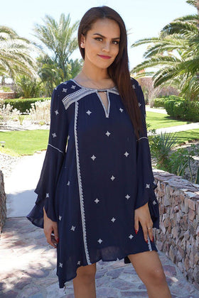 Tale To Tell Embroidered Navy Blue Print Long Sleeve Shift Dress 1