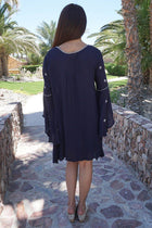 Tale To Tell Embroidered Navy Blue Print Long Sleeve Shift Dress 3
