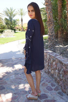 Tale To Tell Embroidered Navy Blue Print Long Sleeve Shift Dress 2