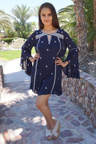 Tale To Tell Embroidered Navy Blue Print Long Sleeve Shift Dress 4