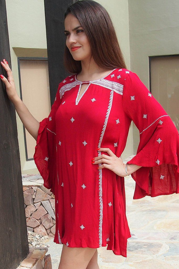 Tale To Tell Embroidered Red Print Long Sleeve Shift Dress 1