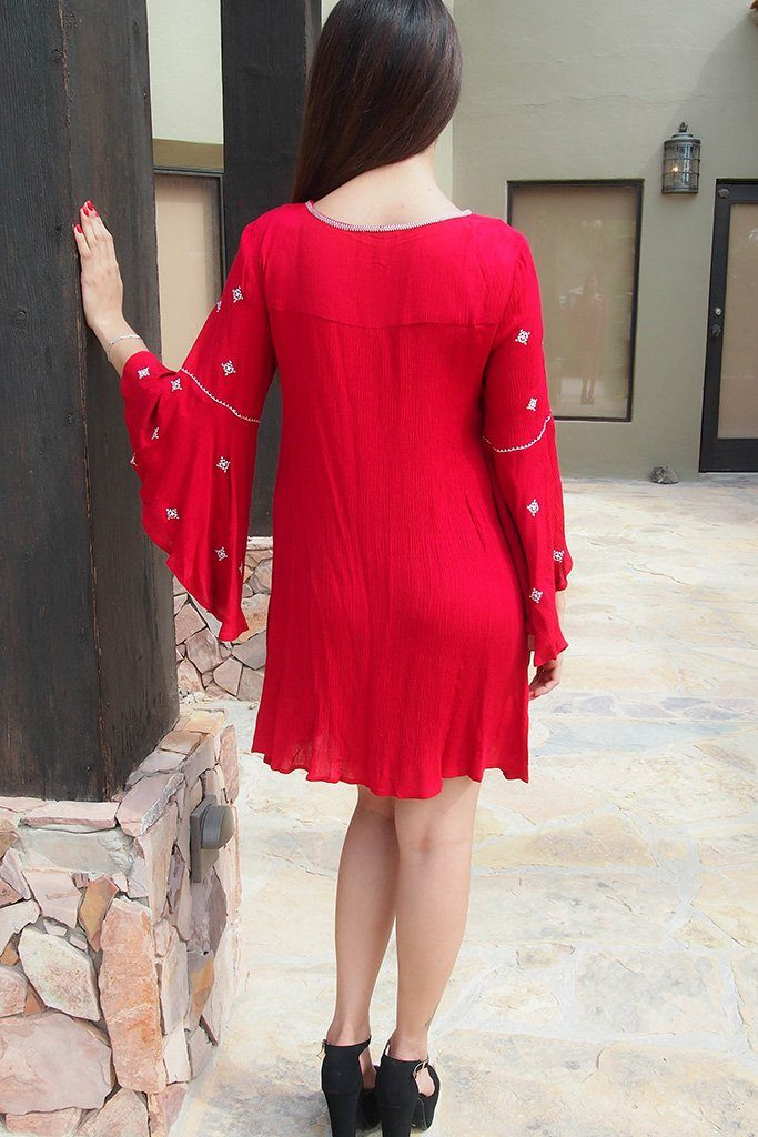 Tale To Tell Embroidered Red Print Long Sleeve Shift Dress 3