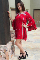 Tale To Tell Embroidered Red Print Long Sleeve Shift Dress 2