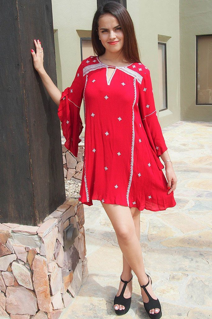 Tale To Tell Embroidered Red Print Long Sleeve Shift Dress 4