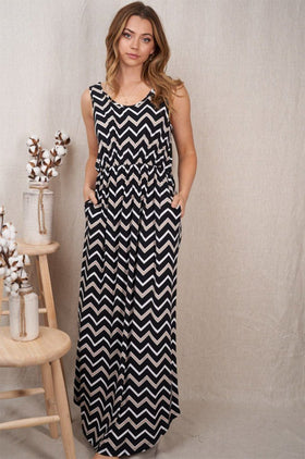 Talk The Block Black Taupe Chevron Maxi Dress 1