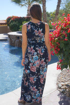Temptation Island Navy Blue Floral Print Long Maxi Dress 3
