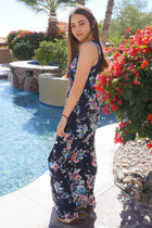 Temptation Island Navy Blue Floral Print Long Maxi Dress 2