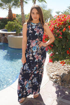 Temptation Island Navy Blue Floral Print Long Maxi Dress 1