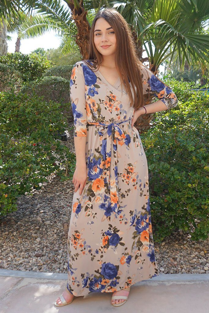 That's A Wrap Magnolia Blooms Cream Floral Print Maxi Dress 1