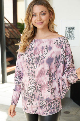 That's Wild Dust Rose Animal Print Off The Shoulder Top 1