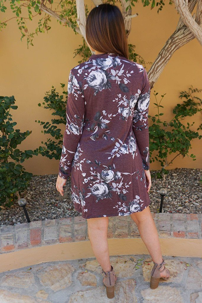 The Very Thought Of You Burgundy Floral Print Cutout Swing Dress 3