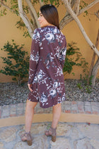 The Very Thought Of You Burgundy Floral Print Cutout Swing Dress 2