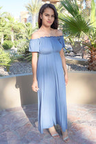The Very Thought Of You Slate Blue Off The Shoulder Maxi Dress 4
