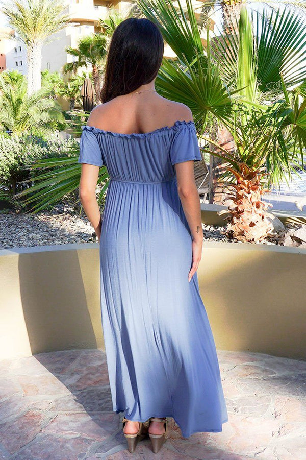 The Very Thought Of You Slate Blue Off The Shoulder Maxi Dress 3