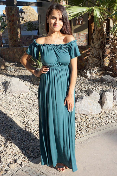 The Very Thought Of You Teal Blue Off The Shoulder Maxi Dress 1