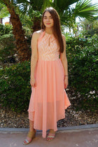 There She Goes Blush Pink Halter Maxi Dress 4