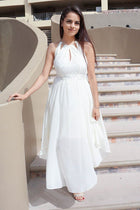 There She Goes Ivory Halter Cut Out High Low Maxi Dress 2