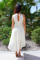 There She Goes Ivory Halter Cut Out High Low Maxi Dress 4