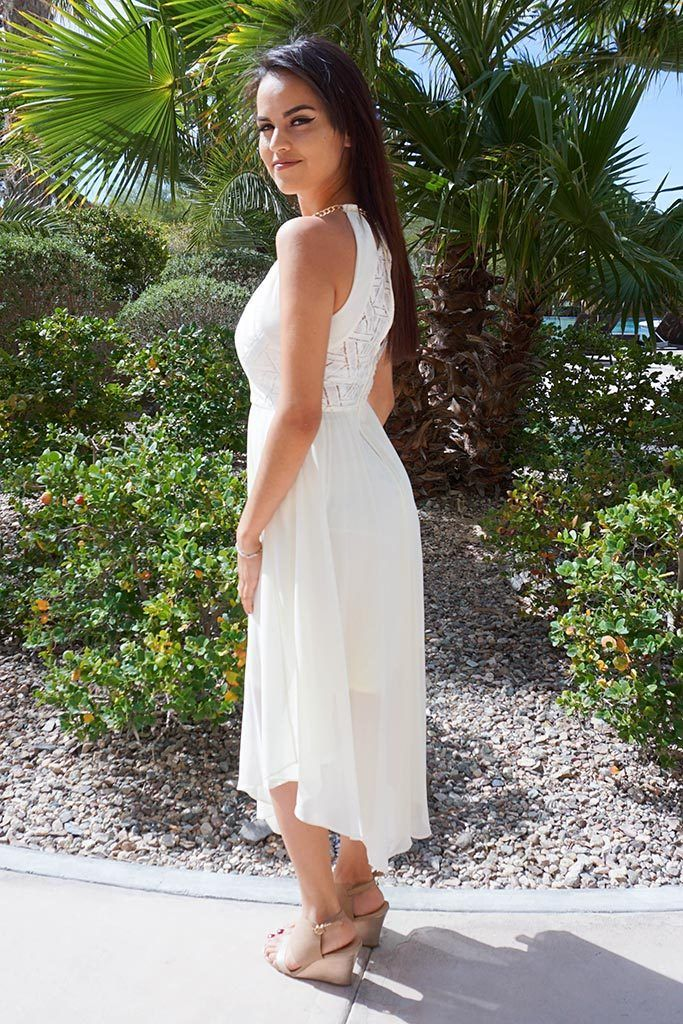 There She Goes Ivory Halter Cut Out High Low Maxi Dress 3