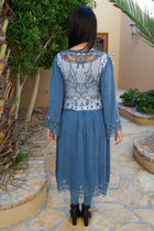 Think Of Me Denim Blue Lace Midi Duster Cardigan 3