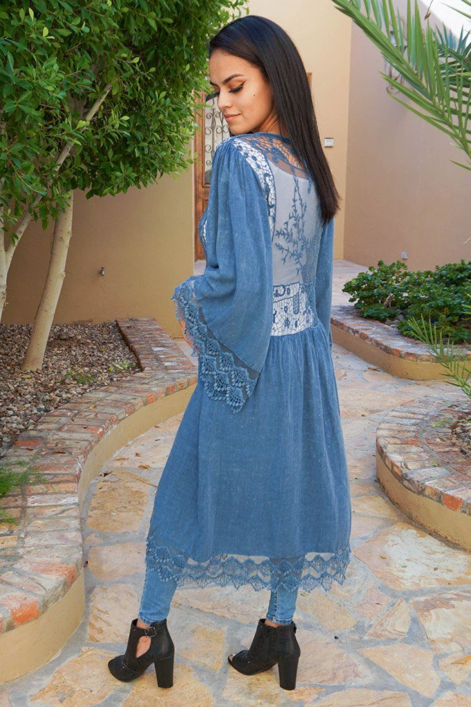 Think Of Me Denim Blue Lace Midi Duster Cardigan 2