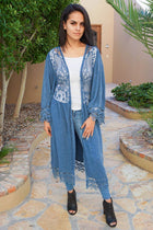 Think Of Me Denim Blue Lace Midi Duster Cardigan 4