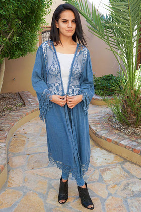 Think Of Me Denim Blue Lace Midi Duster Cardigan 1